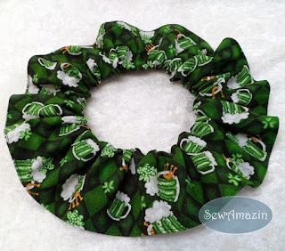 Green Beer Mugs St Patricks Day Lucky Dog Scrunchie Ruffle