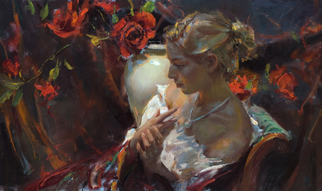 Daniel F. Gerhartz 1965 | American Figurative painter | Women with Flowers