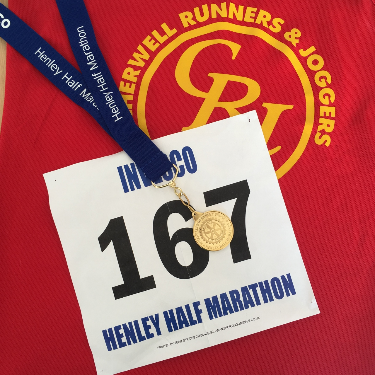 Henley half marathon race bib and medal