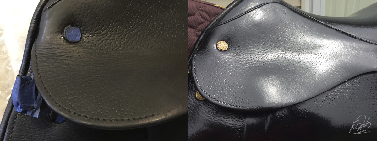 before and after applying Resolene to dyed leather