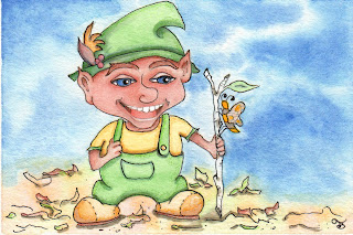 Tweadling Underling Forest Elf Watercolor Illustration Painting