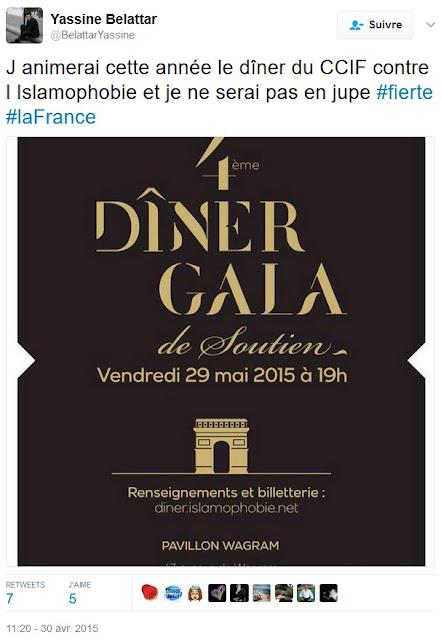Yassine Belattar annonce sur Twitter qu'il animera le diner de gala du CCIF
