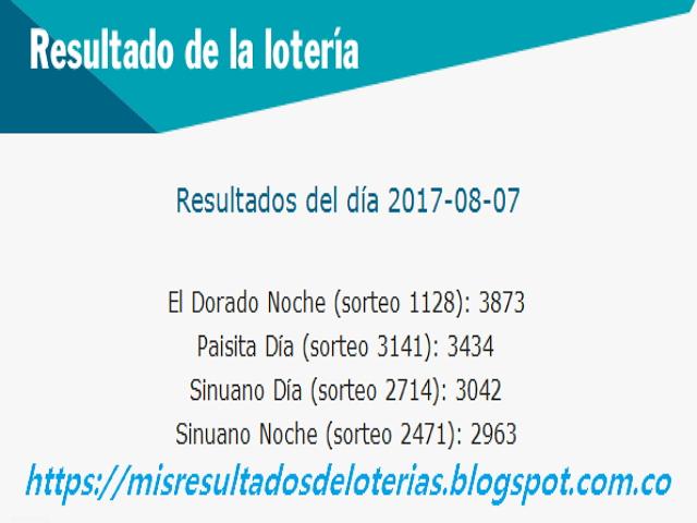 Como jugo la lotería anoche | Resultados diarios de la lotería y el chance | resultados del  dia 07-08-2017