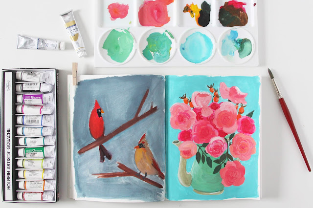 gouache, sketchbook, birds, flowers, teapot, Anne Butera, My Giant Strawberry