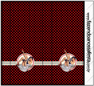 Etiquetas de Pin Up en Negro con Lunares Rojos para imprimir gratis.