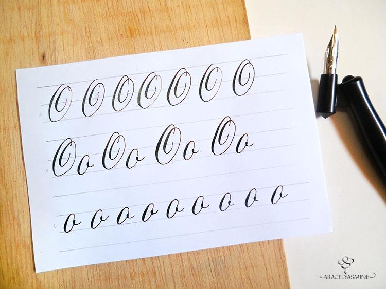 caligrafia copperplate letra O mayuscula y minuscula aprender escribir