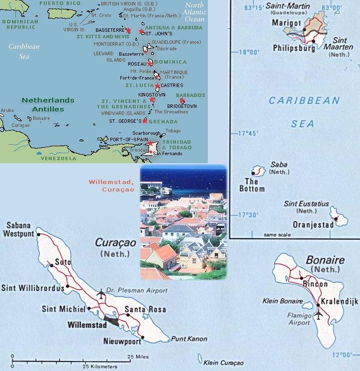 Mapas das Antilhas Holandesas | Holanda