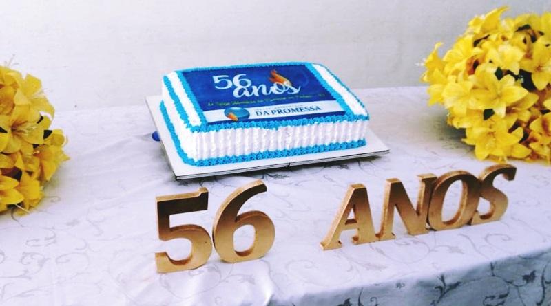 o bolo de aniversário da IAP Piedade comemorando os 56 anos no bairro de Piedade