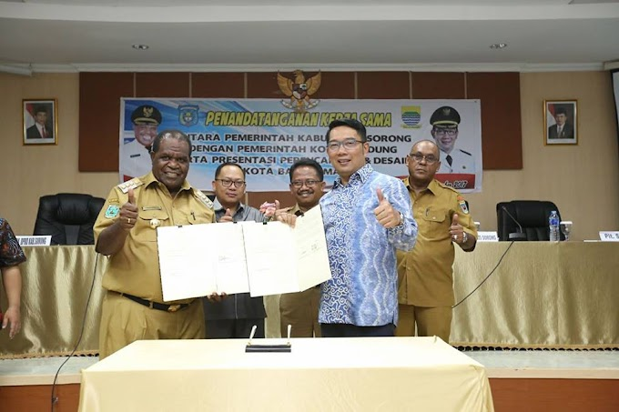 Wali Kota Bandung Dan Bupati Sorong Melakukan Penandatangan Naskah Kerjasama Antar Daerah