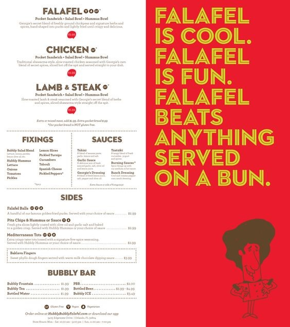 Great Menu Graphic Design by Hubbly Bubbly