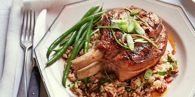 "How to make Sweet 'n' Sticky Pork Chops with ""Dirty"" Rice"