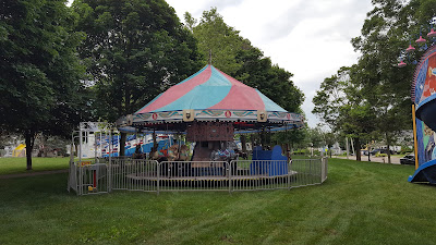 children's ride set up on Town Common