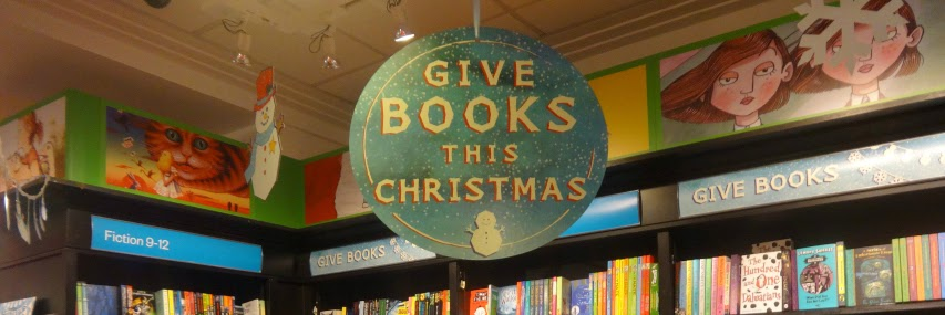 Christmas instore merchandising at Waterstones UK