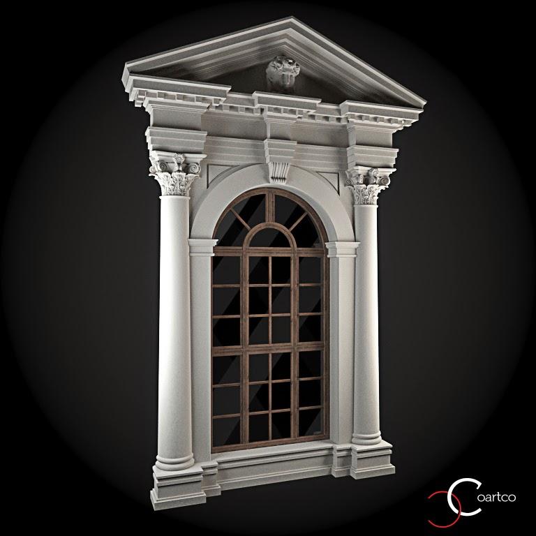 Ornamente Geamuri Exterior, Arcada, Coloane Decorative, fatade case cu profile decorative polistiren, profile fatada,  Model Cod: WIN-084