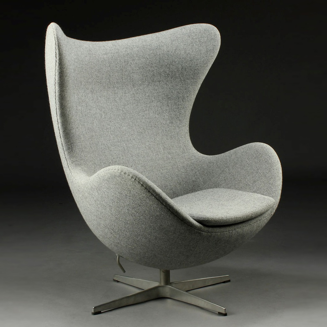 fritz hansen arne jacobsen egg chair in kvadrat tonica grey modern chairs. Black Bedroom Furniture Sets. Home Design Ideas