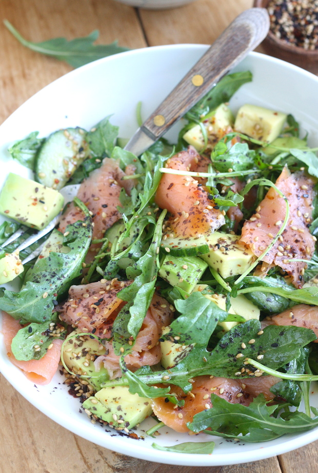 Smoked Salmon Salad with Japanese Ponzu Sauce by SeasonWithSpice.com