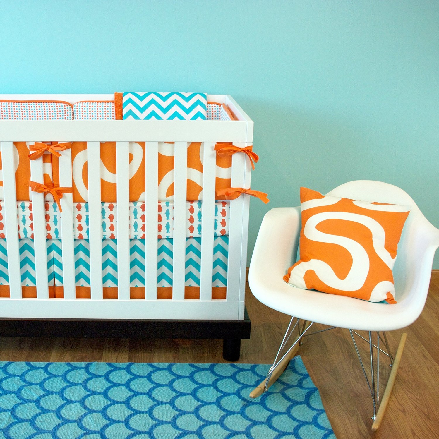 Modern Luxury Orange And Turquoise 3pc Mini Crib Set Fishy