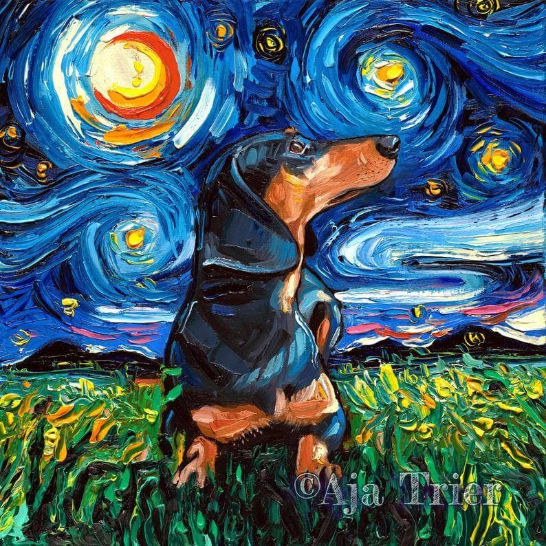 03-Dachshund-Aja-Trier-The-Starry-Night-Dog-Paintings-www-designstack-co