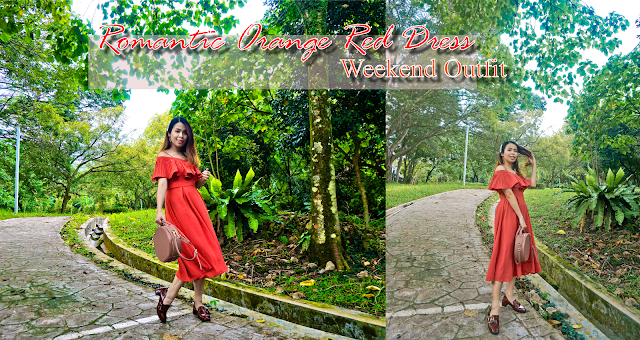 Romantic Orange Red Dress | Weekend Outfit #SharonOOTD