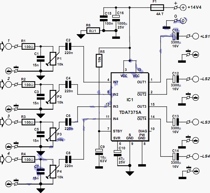 Quad Car Amplifier Circuit Diagram Project Schematic
