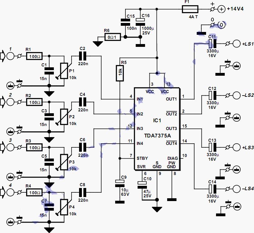 car audio amplifier schematics