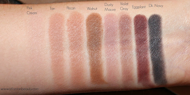 Swatches of the matte shadows from Lorac's Mega Pro 3 Palette