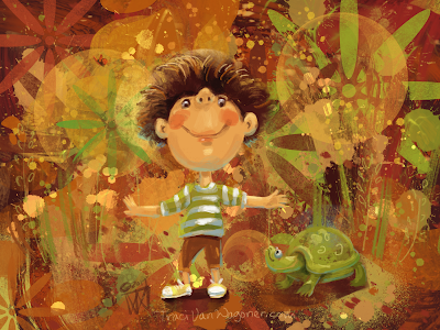 Fall Friends 1, Boy and Turtle, by Traci Van Wagoner