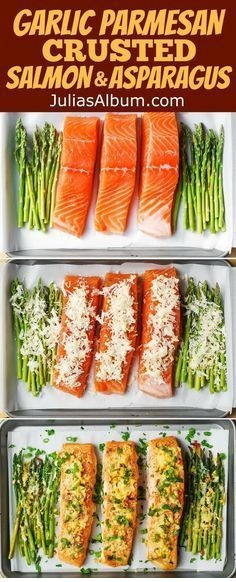 Garlic Parmesan Crusted Salmon And Asparagus