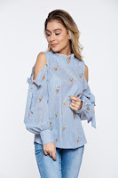 Bluza dama LaDonna albastra casual brodata cu dungi