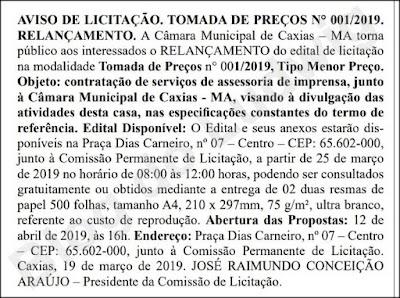 Aviso de Licitação - DOEMA Terceiros 26/03/2019