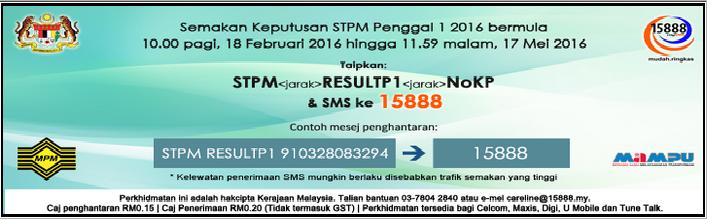 Keputusan STPM 2016 Online Penggal 1