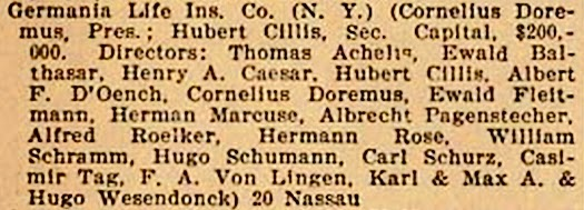 Directors of Germania Life Ins. Co., N. Y., 1900