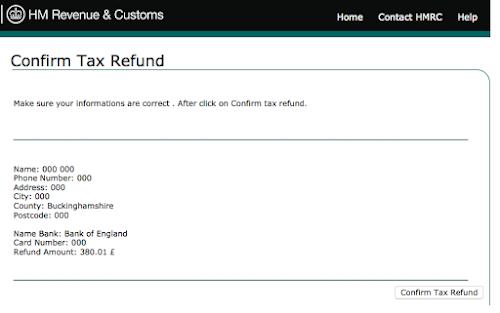 Tax refund notification spam