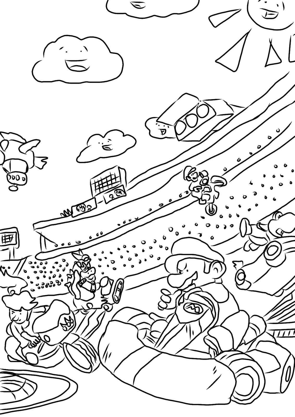 Free coloring pages of mario kart daisy for Mario kart ds coloring pages
