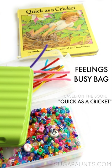 How to teach kids' empathy? Make an empathy bracelet with empathy beads to show respect and awareness of other's feelings.  This busy bag activity is based on the book, Quick as a Cricket.