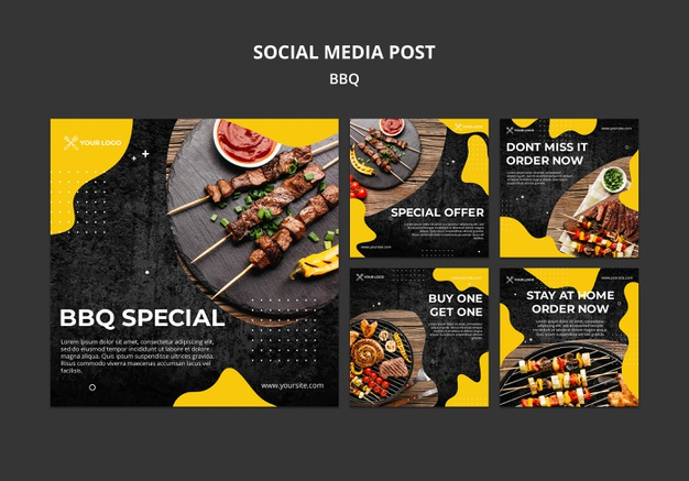 Instagram post collection for barbecue restaurant Free Psd