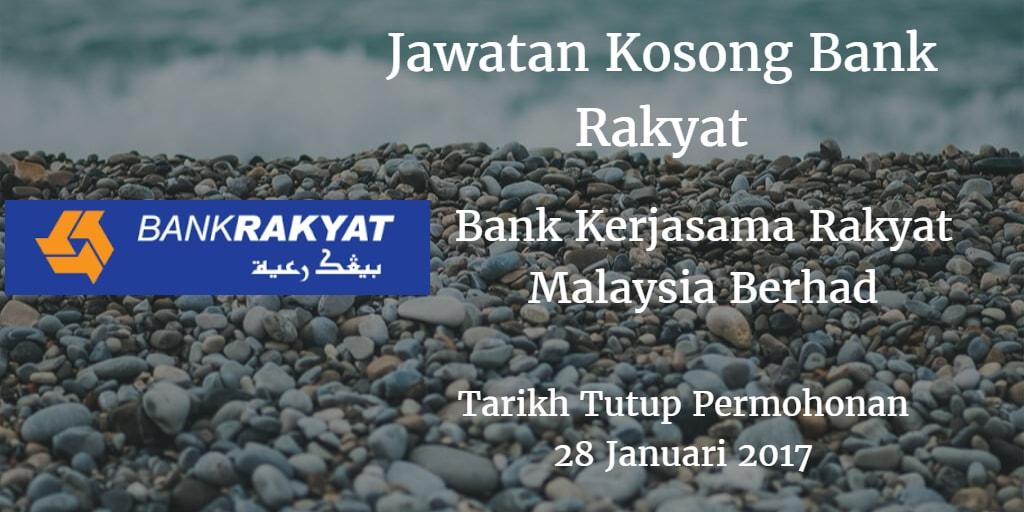 Jawatan Kosong Bank Rakyat 28 Januari 2017