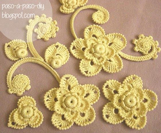 Cmo tejer una flor en tcnica de Crochet Irlands Paso a Paso