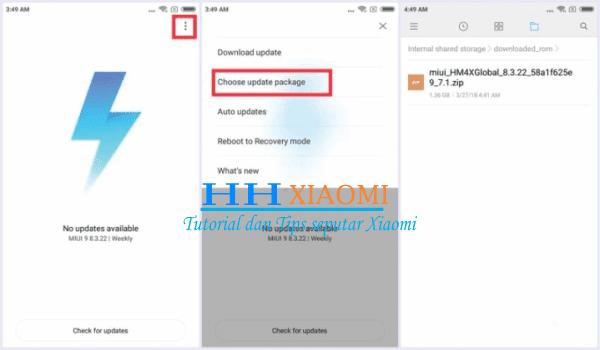 update rom xiaomi redmi 3S / 3X / 3S Prime  melalui aplikasi  pembaruan