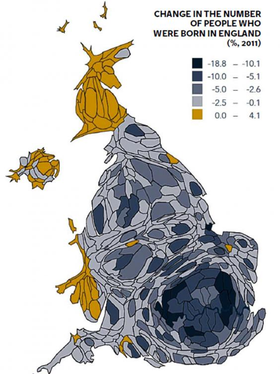 Change in the number of people who were born in England