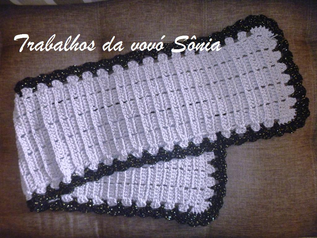 Trabalhos Da Vov S Nia Caminho De Mesa Harmonia Cinza Croch  -> Tapete De Barbante Com Luiza De Lugh