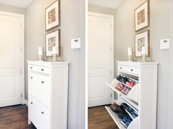 shoe storage in mudroom