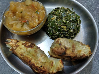 Open fire baked Sweet Potato, Moringa greens poriyal, Ash gourd curry