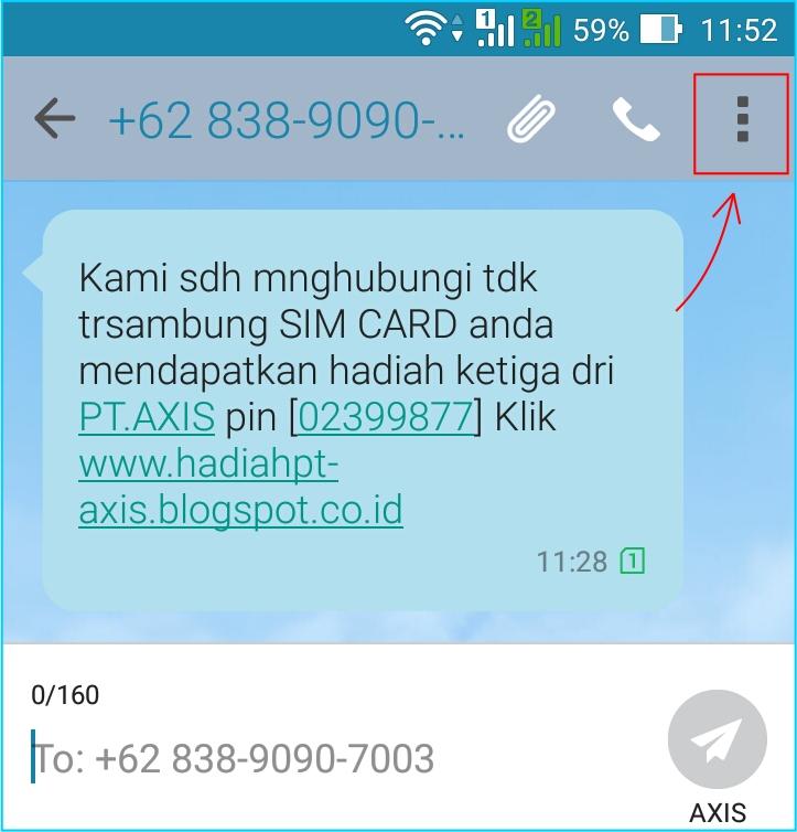 Blok SMS Penipuan - pilih SMS penipuan