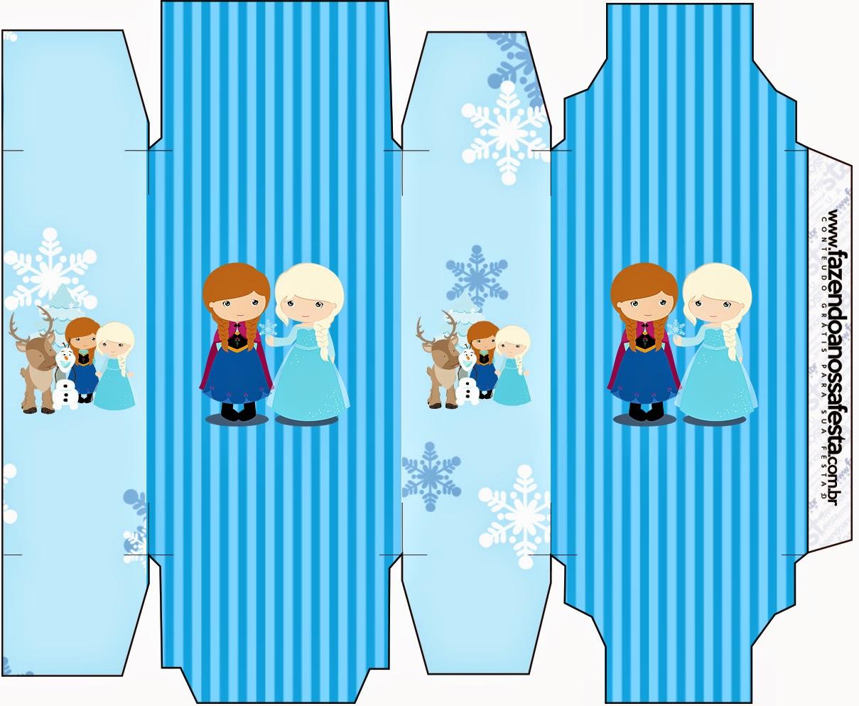 Caja para Imprimir Gratis de Frozen Niñas para Navidad Azul.