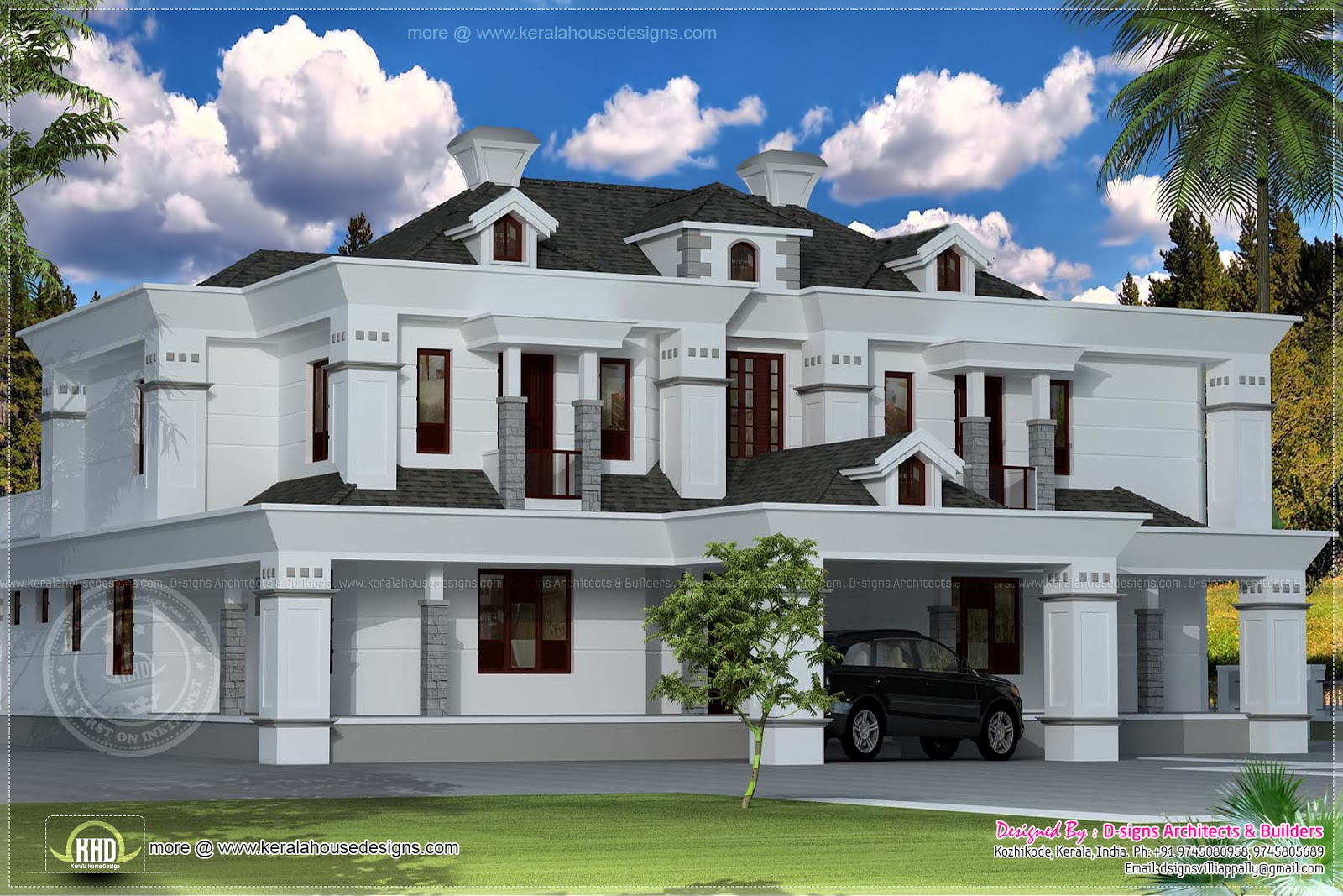 June 2013 kerala home design and floor plans for Colonial style home design in kerala