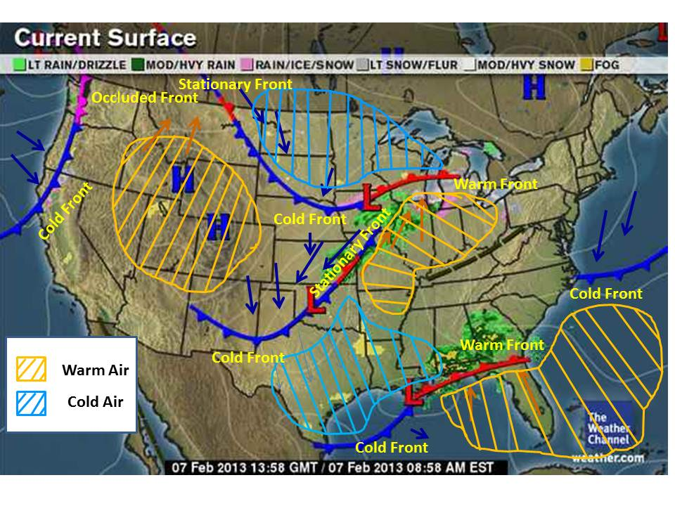 Stationary Front On A Weather Map.Emily S Weather Blog Feb 7 Where I Draw On A Map