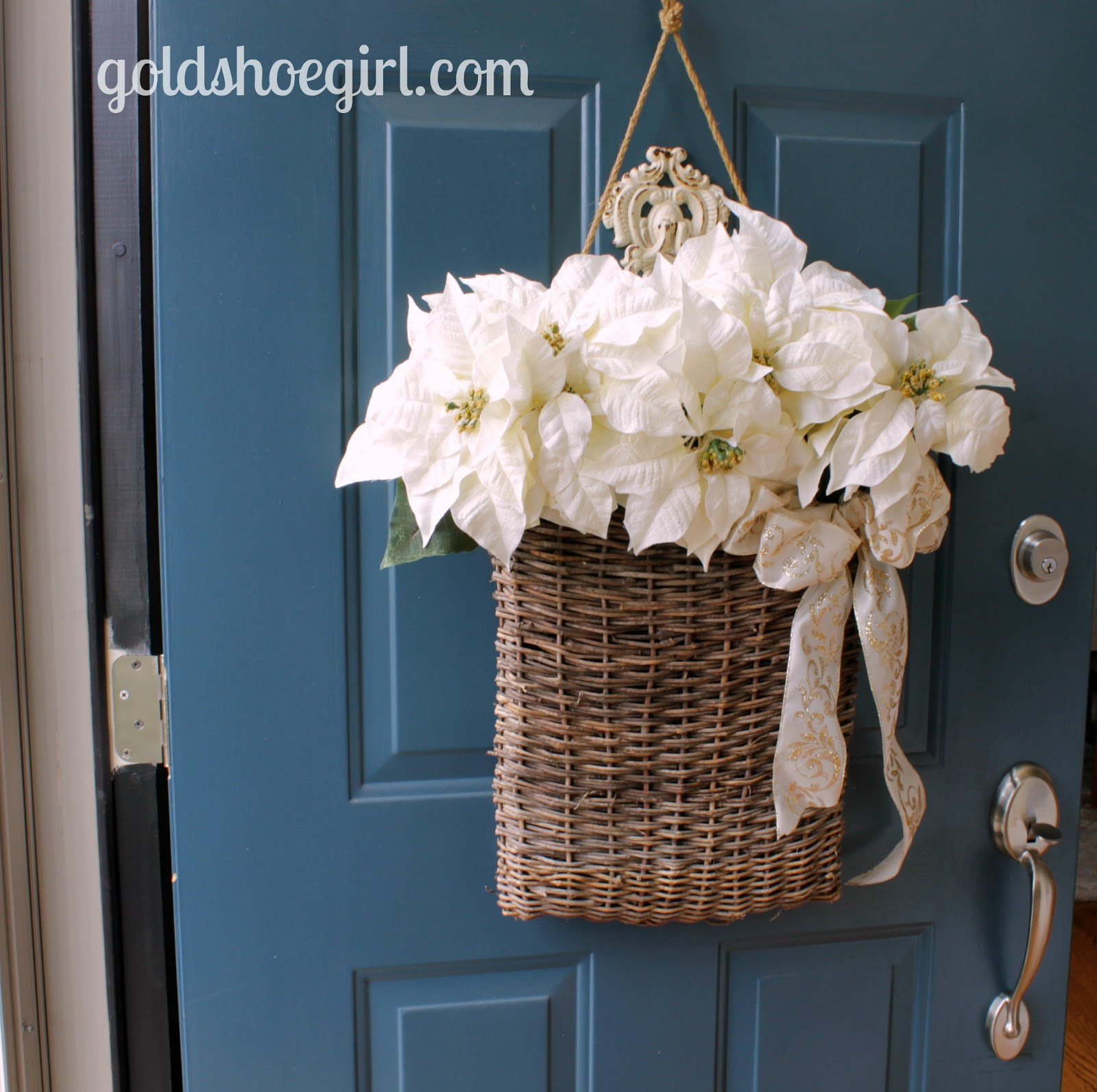 Front Door Baskets: Gold Shoe Girl: Winter Holiday Front Door Basket
