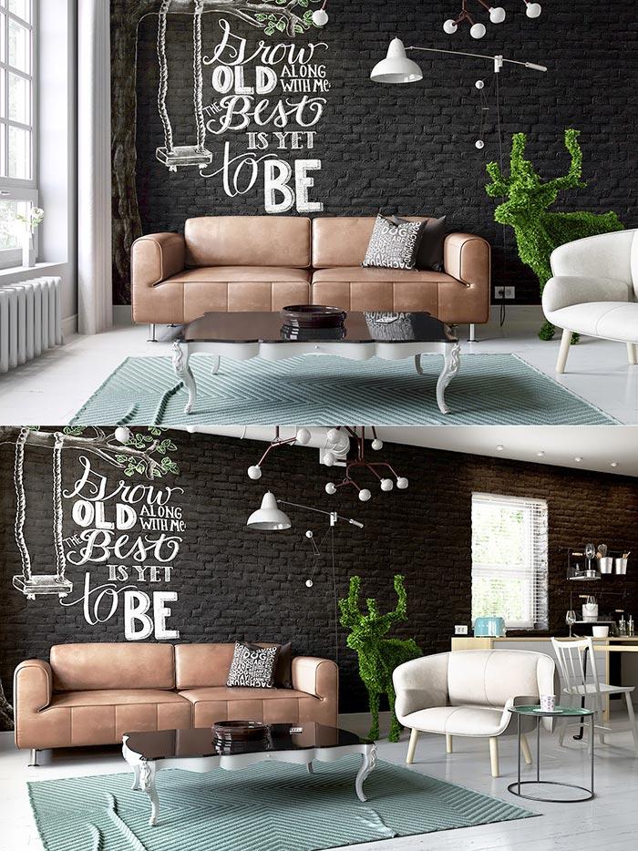 oturma odası duvarına yazı