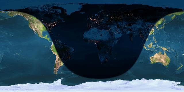 Ngày và đêm trên Trái Đất vào thời điểm đông chí, lúc 23:03 ngày 21/12/2014 (giờ UTC), tức là 06:03 ngày 22/12/2014 (giờ Sài Gòn). Lúc này Mặt Trời đang mọc lên từ phía đông của nước Nga, Trung Quốc, Việt Nam, phía tây nước Mã Lai, Nam Dương và phía đông Ấn Độ Dương, buổi trưa trên Thái Bình Dương và hoàng hôn ở phía tây Mỹ châu. Hình minh họa bởi : Earth and Moon Viewer.